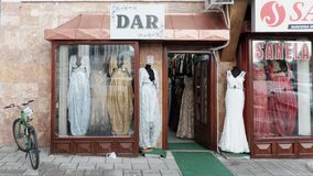 Elegant Muslim Female Long Dresses In Boutique Novi Pazar, Serbia. NOVI PAZAR, SERBIA - JULY 25, 2017: showcase elegant muslim female long dresses in Sanela royalty free stock image