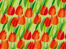 Elegant naadloos patroon met geometrische decoratieve rode tulp Stock Foto