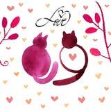 Elegant naadloos patroon met katten en harten op een witte achtergrond royalty-vrije illustratie