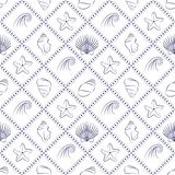 Elegant nautical pattern in navy blue and white. Vector seamless pattern with seashells, starfish and waves outlines. Marine background for website, packaging Royalty Free Stock Photos