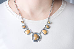 Elegant necklace at neck Stock Photography