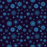 Elegant neon blue snowflakes of various styles Stock Images