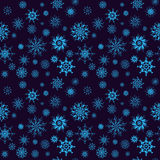 Elegant neon blue snowflakes of various styles Royalty Free Stock Images
