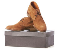 Elegant new brown shoes Stock Photography