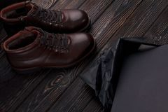 Elegant new brown shoes. Whith shoes box Royalty Free Stock Image