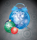 Elegant New Year clock and decorations Royalty Free Stock Photos