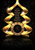 Elegant New Year eve invitation card with gold ribbons in shape of christmas tree. Stock Image