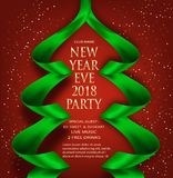 Elegant New Year eve invitation card with green ribbons in shape of christmas tree. Royalty Free Stock Image