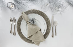 Elegant New Year`s Eve Or Christmas Holiday Place Setting. Fine Dining Table Decor. Royalty Free Stock Photo
