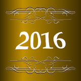 Elegant New Years card with hand lettering, Happy New Year 2016 Royalty Free Stock Photo