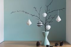 Elegant nordic christmas decor in black and white and red colors stock images