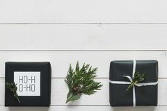 Elegant nordic retro christmas presents, desk view from above, DIY concept royalty free stock photography