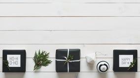 Elegant nordic retro christmas presents, desk view from above, DIY xmas. Concept Stock Photos
