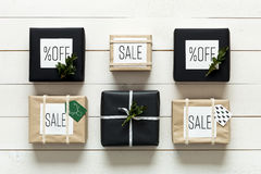 Elegant nordic retro christmas presents, desk view from above, xmas sale. Concept Stock Image