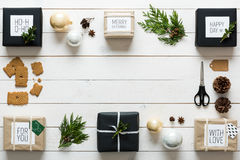 Elegant nordic retro christmas, wrapping station, desk view from above stock image