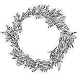 Elegant och gullig illustration Gifta sig ramen av gräsplaner och filialer Blom- modell för grafisk teckning Textiltyg Royaltyfria Bilder