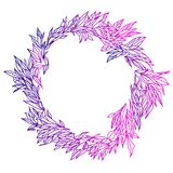 Elegant och gullig illustration Gifta sig ramen av gräsplaner och filialer Blom- modell för grafisk teckning Textiltyg Royaltyfri Foto