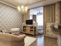 Elegant och lyxig modern livingroom Arkivbild
