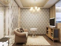 Elegant och lyxig modern livingroom Arkivbilder