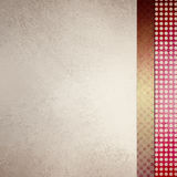Elegant off white background with sidebar designs in red and gold textures Stock Images
