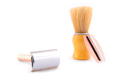 Elegant old brush and razor Stock Photos