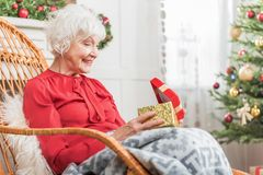 Elegant old female is resting in her house Stock Photography