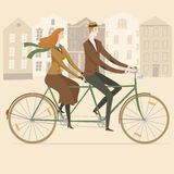 Elegant old style tandem cyclists  illustration Stock Images