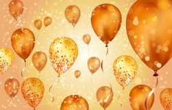 Elegant orange Flying helium Balloons with Bokeh Effect and glitter. Wedding, Birthday and Anniversary Background. Vector. Illustration for invitation card royalty free illustration