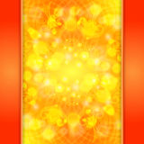Elegant orange ornate background with lace ornament and boke Royalty Free Stock Photography