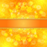 Elegant orange ornate background with lace ornament and ribbon Stock Photography