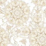 Elegant Oriental seamless pattern with paisley. Decorative gold ornament backdrop for fabric, textile. Royalty Free Illustration