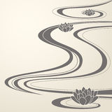 Elegant oriental waves and lotuses background
