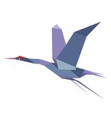 Elegant origami flying crane or heron Stock Photo