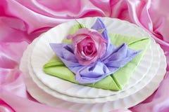 Elegant origami napkins Stock Images