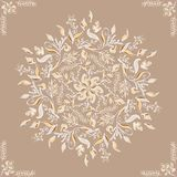 Elegant ornament. circular floral pattern brown. Abstract traditional pattern with oriental elements. Elegant ornament. circular floral pattern brown. Abstract stock illustration