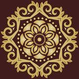 Elegant Ornament in Classic Style. Elegant round golden ornament in classic style. Abstract traditional pattern with oriental elements, Classic vintage pattern royalty free stock photo
