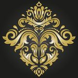 Elegant Ornament in Classic Style. Elegant square golden ornament in classic style. Abstract traditional pattern with oriental elements. Classic vintage pattern stock image