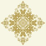 Elegant Ornament in Classic Style. Elegant square golden ornament in classic style. Abstract traditional pattern with oriental elements. Classic vintage pattern royalty free stock images