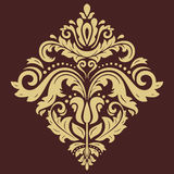 Elegant Ornament in the Style of Barogue. Abstract traditional pattern with oriental elements. Brown and golden pattern stock illustration