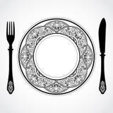 Elegant ornamental knife fork and plate symbol Stock Photos