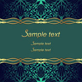 Elegant ornate Background with golden Borders and Place for Text Royalty Free Stock Image