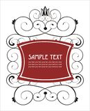 Elegant ornate label with crown. Artistic ornamental hand draw label Royalty Free Stock Image