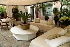 Elegant outdoor covered italian patio Royalty Free Stock Image