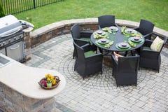 Elegant outdoor living space stock photo