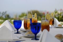 Elegant outdoor lunch setting Stock Images
