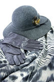 Elegant outfit accessories. Felt hat with leather gloves and  shawl with animal print Stock Image