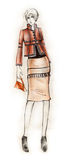 Elegant Outfit Fashion Illustration. Fashion illustration created with ink and colored pencils Stock Photos