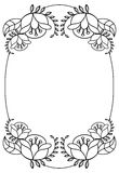 Elegant oval frame with contours of flowers. Raster clip art. Elegant oval frame with contours of flowers. Copy space. Raster clip art Royalty Free Stock Images