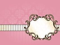 Elegant oval French vintage label, horizontal vector illustration