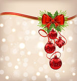 Elegant packing with Christmas balls Royalty Free Stock Photo